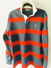 New listing Vintage Mens Polo Ralph Lauren  Rugby Long Sleeve Striped Red Navy Blue Medium