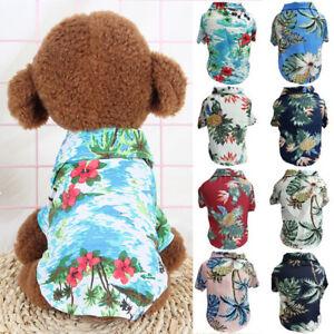 Dog Clothes Summer Beach Shirt Clothes Dog Print Hawaii Floral T-shirt Vest
