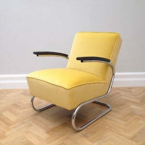 Vintage Thonet Yellow Cantilever Chrome Chair Model S411 ( Pair Available)