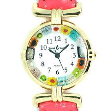 Murano Glass Watch Pink Strap Gold Trim Millefiori Quartz Venice Art