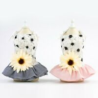 Small Pet Puppy Lace Skirt Dog Cat Princess Tutu Sunflower Dress Summer Clothes