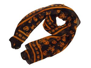 Ladies Cute Orange/Black Punk Pirate Skull & bone Chiffon style Scarf UK Seller