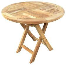 Round Teak Table Wooden Picnic Garden Patio Outdoor Coffee Tea BBQ Folding Table