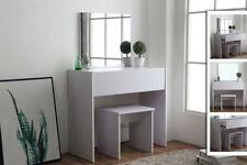 Modern White Dressing Makeup Table w Stool & Mirror 1 Drawer Dresser MDF New
