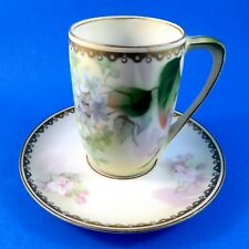 Pretty Lilacs RS Prussia Germany Chocolate Cup and Saucer