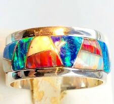 Men's Opal ring Heavy Solid Thick Red Black Blue 9 Sterling Silver 926 Firey!