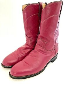 Justin Cowboy/Western Boots Magenta Pink Leather Rodeo Roper Boots USA Size 9 B