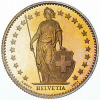 1982 SWITZERLAND HELVETIA 1/2 FRANCS GORGEOUS COLOR UNC GOLDEN BU GEM TONED (MR)