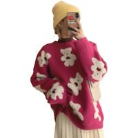 Fluffy Ladies Long Sleeves Jumper Pullovers Bear Embroidery Knitted Sweater UK