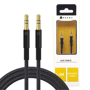1M AUX CABLE BRAIDED CORD 3.5MM HEADPHONE JACK AUDIO BLACK/GOLD PLATED BY URBANZ