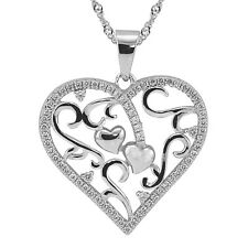 """Sterling Silver, White CZ Heart Pendant with Necklace, 17.5"""" Extension Chain"""