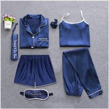 Women's 7 pieces Pajamas Sets Satin Silk Lingerie Homewear Sleepwear Autumn Pj