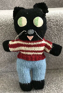 Vintage Felix Cat Handmade Knitted Soft Toy Quirky Kitsch Teddy's Friend