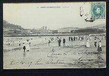 2740.-SAN SEBASTIAN -La Playa (Enviada a México en 1907)