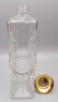Vintage Whiskey Liquor Decanter Clear Glass Empty Bottle w/ Gold Cap
