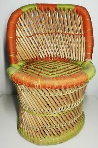 Armchair Rattan Child Vintage Deco, Collection 20th Century Green, Orange H