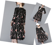 Petite Black A-Line Dress Size 14 Floral B-1336