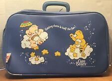 "1983 Care Bears Blue Kids Suitcase Overnight Bag Vinyl 17"" Cheer Funshine Bear"