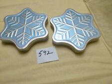 "2 Silver Gray Blue Metal Snowflake Gift Card Boxes - 5"" dia - Empty"