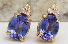 4.18Ct Natural Tanzanite and Diamond 14K Solid Yellow Gold Earrings