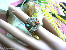 3 piece set Ring Turquoise Coral Crystals Vintage Jewellery Style Art deco US 8