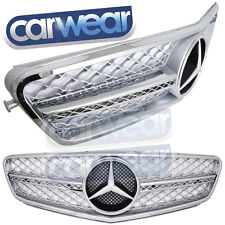 MERCEDES BENZ W204 C-CLASS 08-14 SILVER CHROME HEX STYLE GRILLE C200 C300