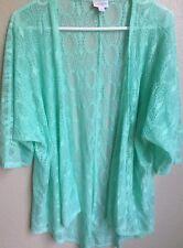 New LulaRoe Lindsay (runs big) Turquoise Sea Green, Lace, Lightweight Medium