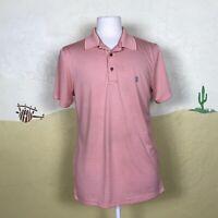 Izod Golf Mens Polo Shirt Short Sleeve Orange White Striped Size Medium