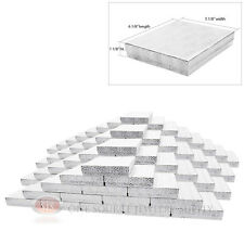 """Large 100 Silver Foil Cotton Filled Jewelry Gift Boxes 6 1/8"""" x 5 1/8"""" x 1 1/8""""H"""