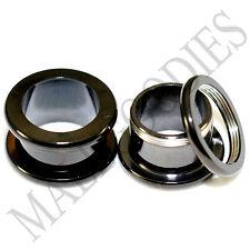 """1467 Screw-on / fit Black 1/2"""" Inch 12.7mm Flesh Tunnels Ear Plugs Earlets Steel"""