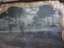 1/6 Tintype 2 Men in Horse Drawn Wagon in Mat and Frame