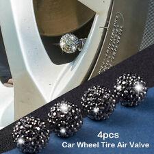 4x Rhinestone Bling Tire Air Valve Stem Caps Auto Car Accessory Cap Cover Black
