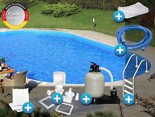 Schwimmbecken Pool oval 3,00x5,00x1,50m Stahlwand Komplettset Tief Folie 0,6mm