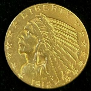 1912-S $5 Liberty Gold Coin.! Uncertified.! NR.!