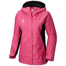"New Womens Columbia ""Tested Tough In Pink II"" Omni-Tech Waterproof Rain Jacket"