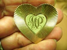 "Initial ""Mp"" Heart Brooch Vintage 1/20 12 Kt. Gf"
