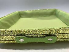 Tray Green Gold Square Basket Woven Home Storage Hamper Handle