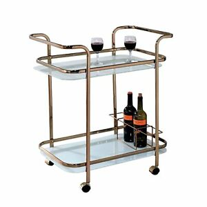 Tiana Contemporary Serving Cart In Champagne Finish