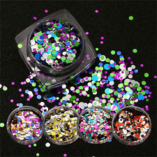 Shine Round Nail Glitter Powder Dust 3D Nail Art Decorations Tip Stickers Hot UK