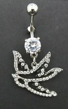 Sparrow Bird Belly Ring Clear CZ Gemstone Jewel Navel Bar Body Jewelry