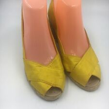 NEW Women Size 8 Ralph Lauren Cecila Yellow  Platform Wedges