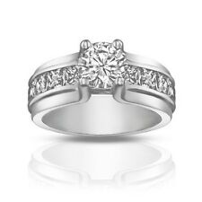 1.50 ct Ladies Round Cut Diamond Engagement Ring With Princess Cut On the Side