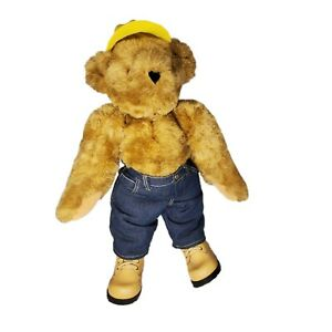 """Authentic Vermont Teddy Bear Co Honey Brown Construction Cap Plush Jointed 16"""""""