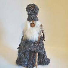"""Mystical 12"""" Wizard Doll Gandalf Merlin Knitted Cape Coat Hat Wooden Stick Body"""