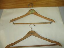 Vintage Sheraton Hotels & Tracy's Clothes London Ont. 2 Wooden Coat Hangers Lot