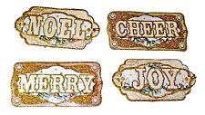 Punch Studio 12 Glittered 3-D Christmas Joy Noel Merry Gift Tags 14213 Decoupage