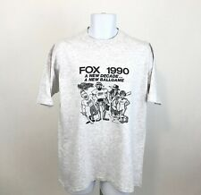 Vintage 1990 Fox TV Channel Graphic T Shirt XL Gray Single Stitch Made in USA