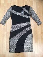 LADIES PROGRESS LONG DRESSY DRESS BLACK & GOLD SIZE 10