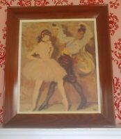 Vintage Painting Guy and Girl Dancing Ballerina Spanish Signed Dye As Is