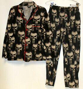 Marvel Black 2 piece PJs Black Punisher Small Long Sleeve Shirt Pants Button Up